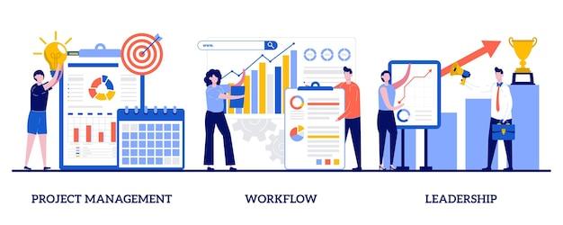 プロジェクト管理、ワークフロー、小さな人々とのリーダーシップの概念