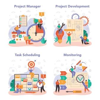 Набор концепции менеджера проекта. планирование успешного бизнес-проекта