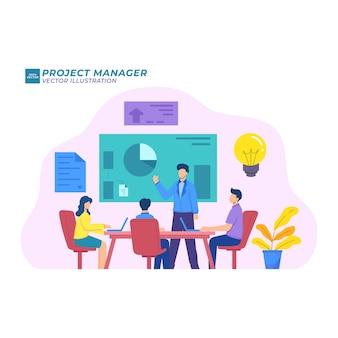 Менеджер проекта плоская иллюстрация, командная работа, лидер, коммуникативная диаграмма, планирование, интернет