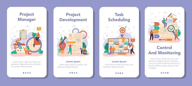 프로젝트 관리자 모바일 응용 프로그램 배너 세트입니다. 성공적인 비즈니스 프로젝트 계획, 개발 및 일정. 관리 및 마케팅 전략. 만화 스타일의 벡터 일러스트 레이 션