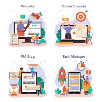 Набор онлайн-сервисов или платформ для менеджеров проектов. успешное планирование, разработка и составление графиков бизнес-проектов. онлайн-курс, блог, диспетчер задач, сайт. векторные иллюстрации в мультяшном стиле