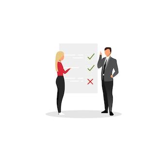 Project manager planning tasks flat vector illustration.
