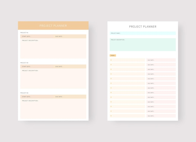 Project planner template set of planner and to do list