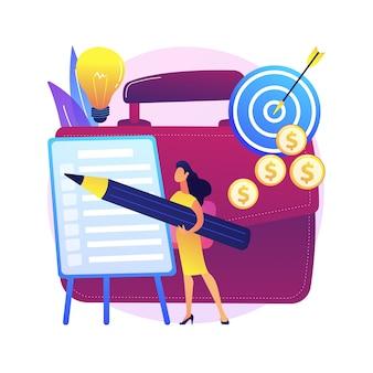 プロジェクト計画の抽象的な概念図。プロジェクト計画の作成、スケジュール管理、ビジネス分析、ビジョンと範囲、タイムラインとタイムフレームの見積もり、ドキュメント