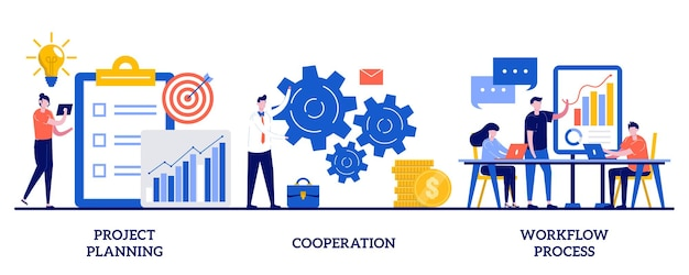 Project planning, cooperation, workflow process concept with tiny people. business process analysis  set. vision and scope, boost productivity, partnership.