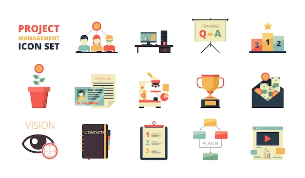 Project planning icons set