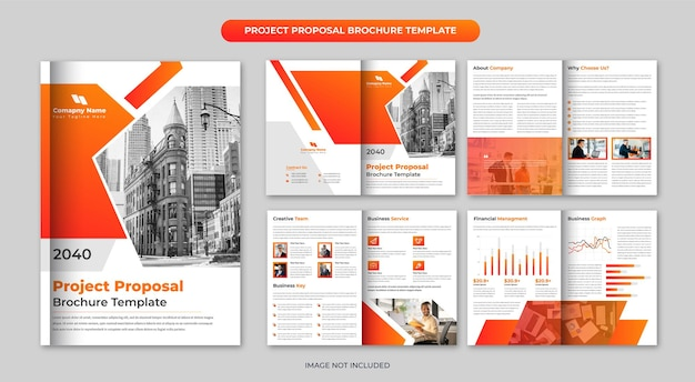 Project proposal 8 page brochure template design or company profile annual report brochure