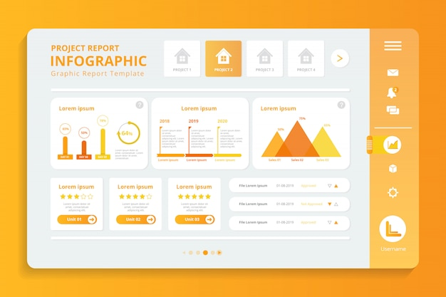 Project report infographic in display screen template