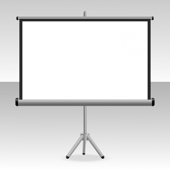 A projected screen with a tripod for your presentations