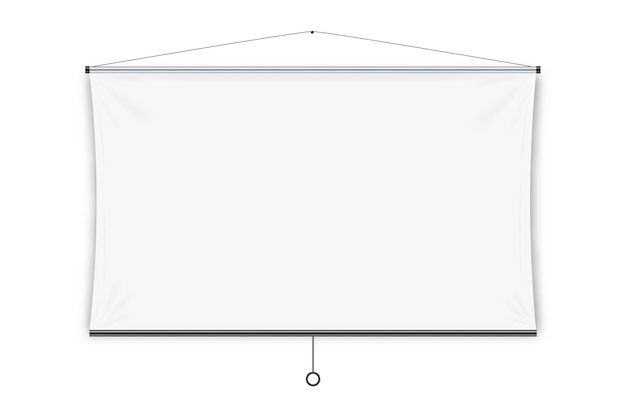 Projection screen.  blank white hanging projection screen display.  education, visual presentation, business conference concept
