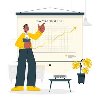 Illustrazione di concetto di proiezioni