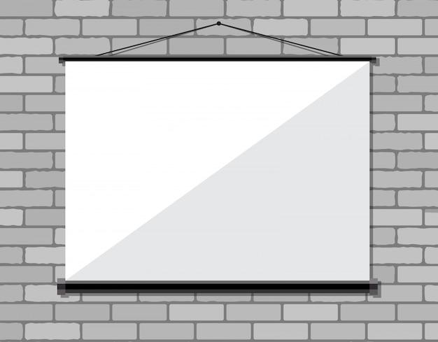Projector screen on brick wall,