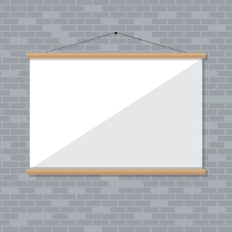 Projector screen on brick wall