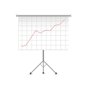 Projector screen with business chart graph.