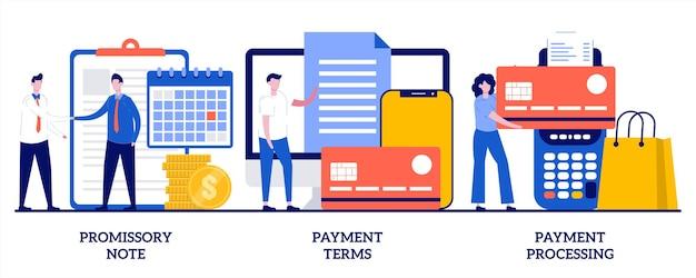 Вексель, условия оплаты, концепция обработки платежей. комплект договора денежного займа, обменный счет Premium векторы