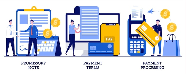 Promissory note, payment terms, payment processing illustration with tiny people