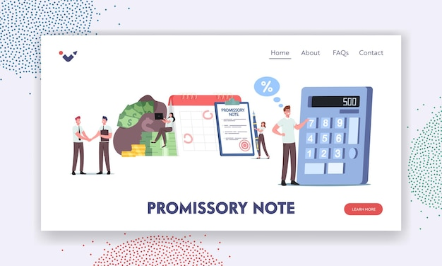 Promissory note, simple loan agreement landing page template. tiny characters promise to pay, money borrowing document, credit deal, legal contract commercial paper. cartoon people vector illustration