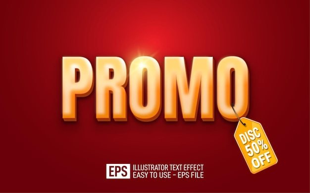 Promo 3d text editable style effect template with tag discount