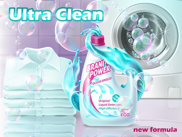 Promo banner of liquid detergent with washing machine, clean shirts