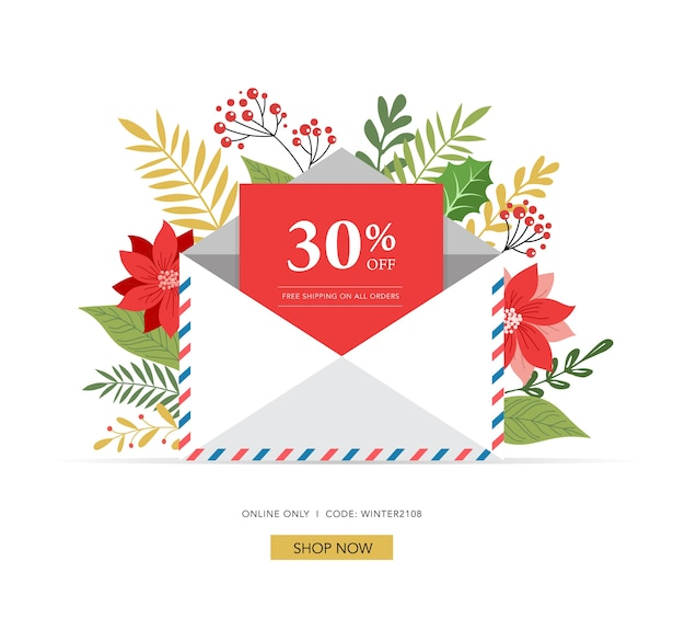 Promo christmas, new year banner, sale poster and flyer with envelope, letter for santa claus