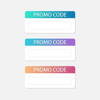 프로모션 코드 카드. 배너 할인. 할인. 벡터 일러스트입니다.