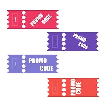 프로모션 코드, 쿠폰 코드. 평면 벡터 흰색 바탕에 티켓 디자인 그림을 설정합니다.