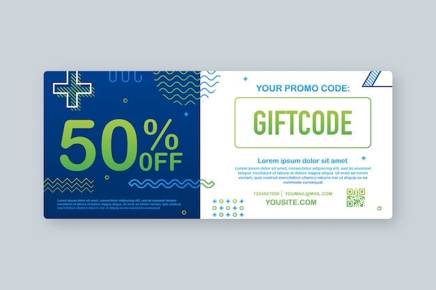 プロモーションコード。クーポンコード付きギフト券。 eコマース、オンラインショッピングのためのプレミアムeギフトカードの背景。マーケティング。図。