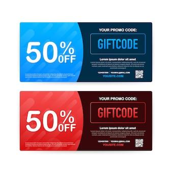 プロモーションコード。クーポンコード付きギフト券。 eコマース、オンラインショッピング用のプレミアムegiftカード。マーケティング。図。