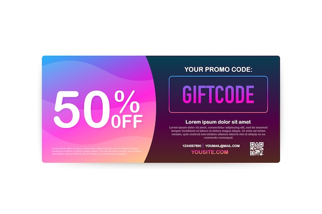 Promo code. vector gift voucher with coupon code. premium egift card