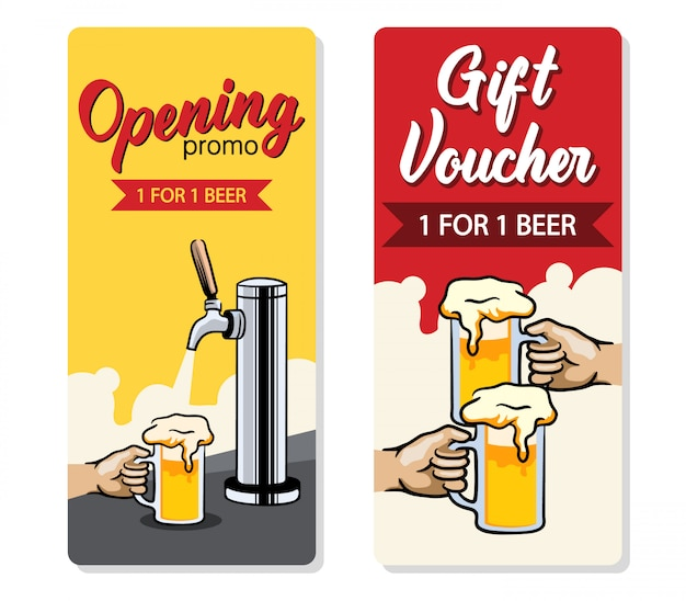 Promo design of free beer voucher.