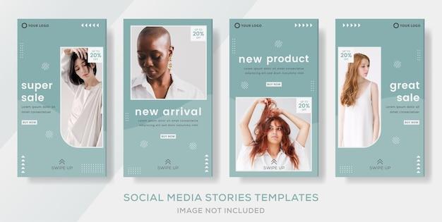 Promo fashion sale stories post banner template premium vector