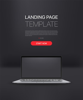 Promo landing page template with modern laptop. template with sample text and button