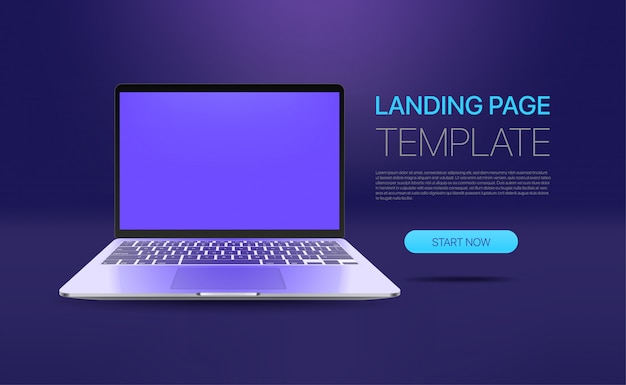 Promo landing page template with modern laptop