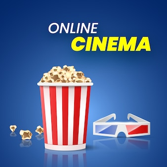 Promo for online cinema. popcorn and 3d glasses.