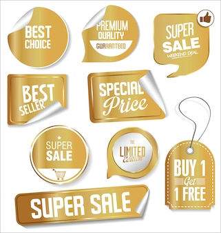 Promo sale labels collection gold and silver