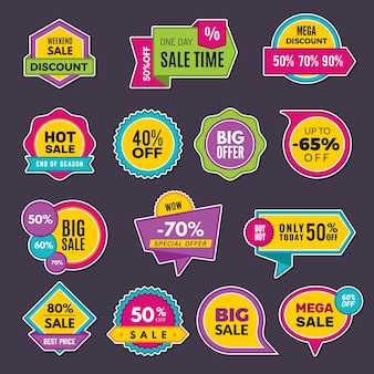 Promo stickers. discount badges or labels price tags sales announce collection. discount offer sticker, promo price announcement illustration