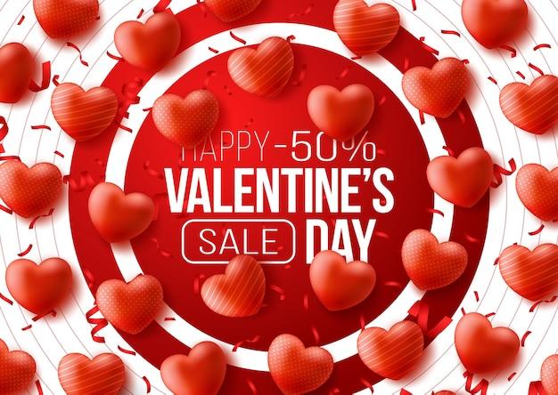 Промо веб-баннер ко дню святого валентина. большой красный круг и воздушный шар red hearts.