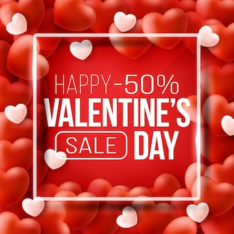 Промо-баннер для распродажи ко дню святого валентина. красивый фон с красными сердцами.