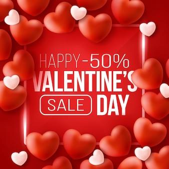 Промо-баннер для распродажи ко дню святого валентина с красными сердцами.