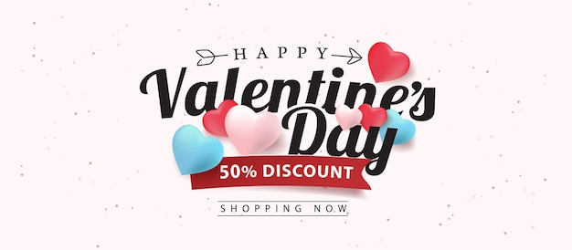 Promo web banner for valentine's day sale