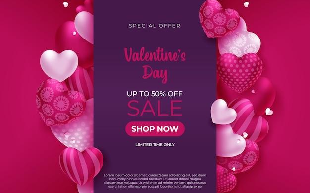 Promo web banner for valentine's day sale