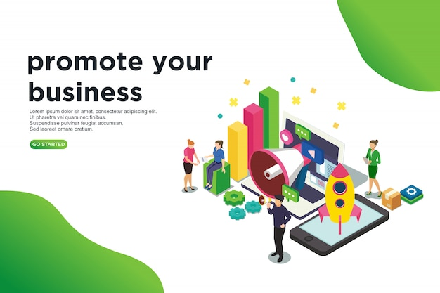 Promote your business isometric vector illustration concept