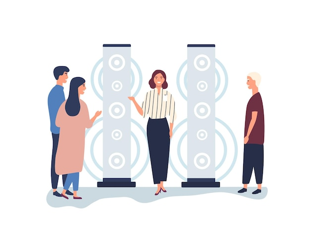 Promoter advertising stereo system flat vector illustration. female sales manager, merchandiser helping customers. saleswoman, clients choosing audio speaker cartoon characters isolated on white.