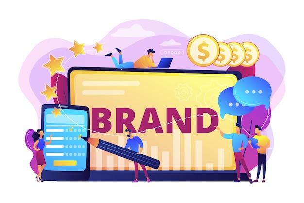 会社の信頼を促進する。クライアントの忠誠心を高める。顧客のコンバージョン。ブランドの評判、ブランド管理、販売促進戦略のコンセプト。