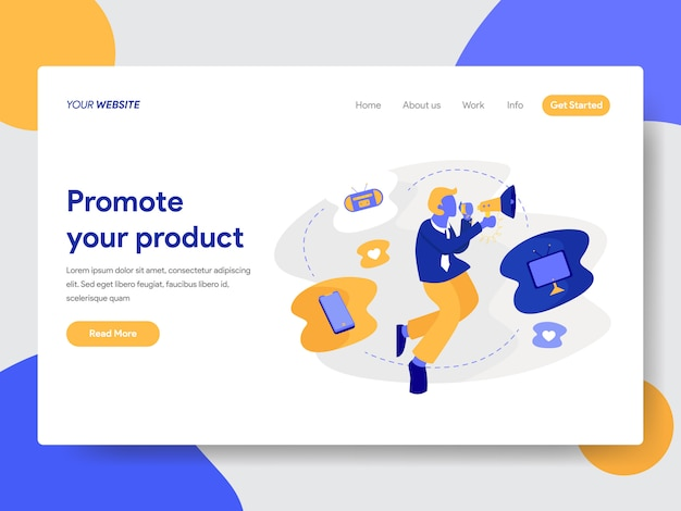Promoting product illustration for web page