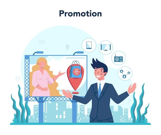 プロモーション。広告とマーケティングの概念