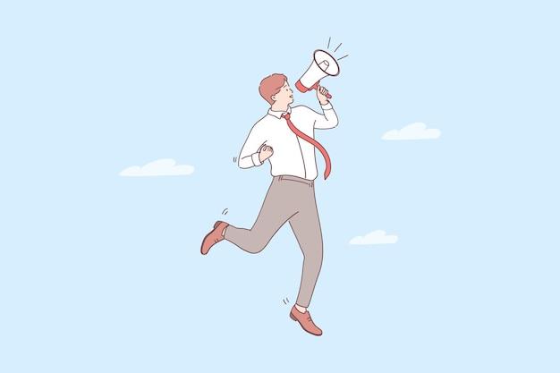 승진, 발표, 관심 개념. 젊은 긍정적 인 사업가 만화 캐릭터 서 관심을 위해 스피커 확성기로 발표 만들기