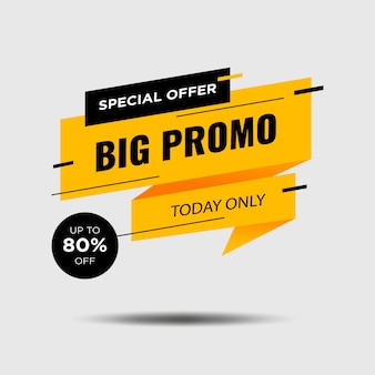Promotion banner design isolated in white .