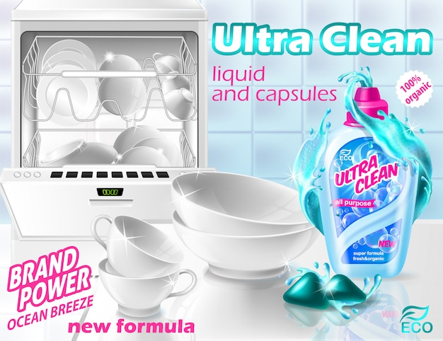 Promotion banner of liquid cleaner and capsules for dishwasher. plastic bottle with detergent