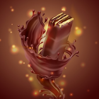 Promotion banner, realistic crispy waffle with splash of melted chocolate